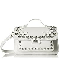 6a399c2efab Steve Madden Mary Nonleather Frontflap Silver Studded Satchel Handbag