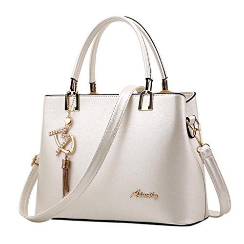 VJGOAL Damen Schultertasche, Frau oder Mutter Geschenk Damenmode luxuriöse Leder Crossbody Schulter Messenger Party Bag Handtasche (29*13*21cm, Weiß) (Große Luxus-handtaschen)