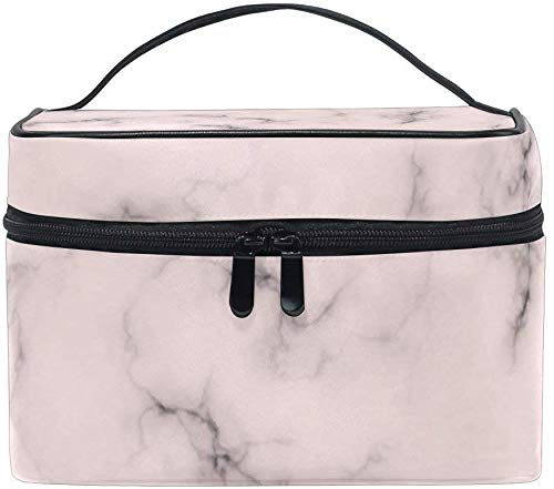 Pink Marble Texture Women Travel Cosmetic Bag Portable Makeup Train Case Toiletry Bag Beauty Organizer -