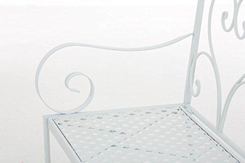 CLP Gartenbank SALIM im Landhausstil, aus lackiertem Eisen, 107 x 50 cm – aus bis zu 6 Farben wählen Weiß - 7