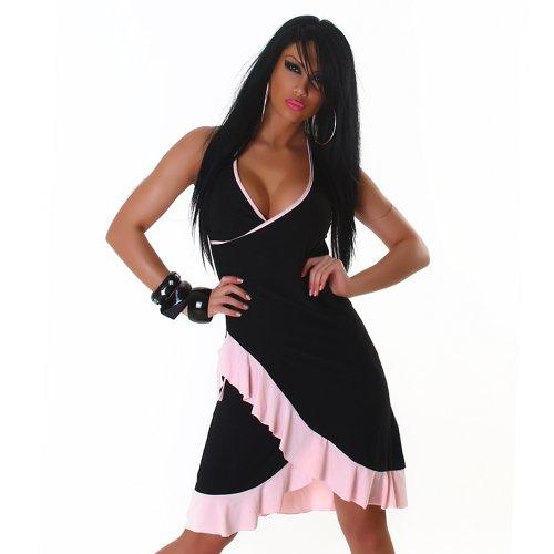 Jela London Unità Dress abito da cocktail da ballo con scollo a V bicolore colori correnti delle donne nero Rosa 36,38,40,42