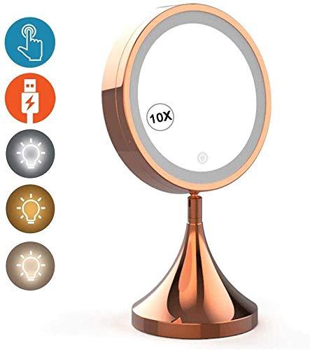 HLM- Maquillaje Iluminado Espejo de baño Recargable con 3 Colores Leds Smart Touch Sensor Regulable...