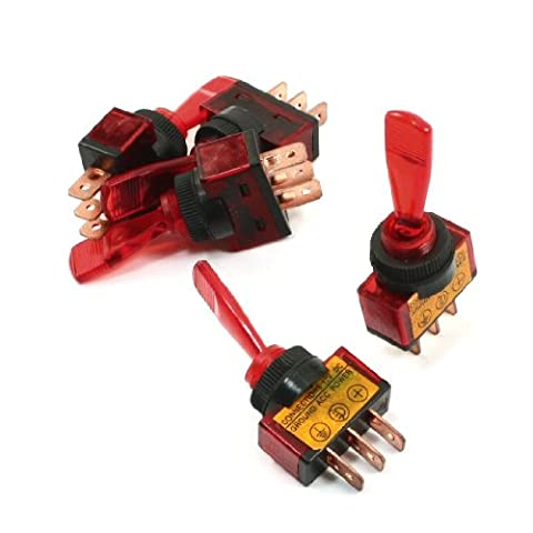 5Pcs Red Lamp SPST ON/OFF 2 Position 3P Car Toggle Switch DC 12V 20A