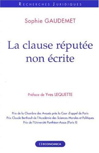 La clause réputée non écrite par Sophie Gaudemet