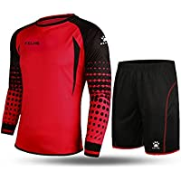 Kelme futbol portero de manga larga jersey de futbol Set traje (Red/Black,