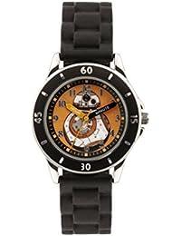 La guerra de las Galaxias chico es el reloj de cuarzo con esfera analógica multicolor de color negro y correa de silicona SWM3046