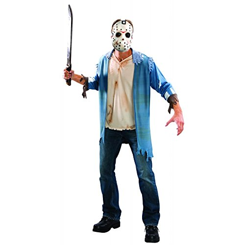 Kits Kostüme (Original Lizenz Jason Voorhees Blister Kit Kostüm Set Freitag der 13 Kettensägen Massaker Crystel Lake Chainsaw Gr.)
