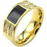 KONOV Schmuck Herren-Ring, Damen-Ring, Zirkonia Diamant Edelstahl, Klassiker, Gold Schwarz