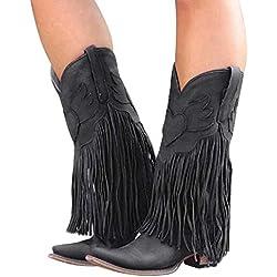 Dihope, - Botas para mujer, tacón plano, con flecos, estilo informal, para invierno Negro EU 37