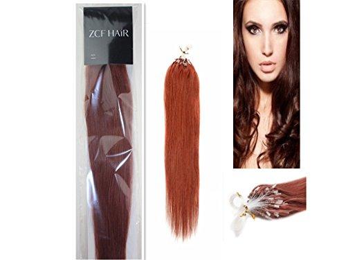Style 61 cm facile Boucles Micro anneaux perles à pointe 100% naturels Extensions de cheveux humains Cheveux raides Couleur 33 foncé Auburn Beauté Motif salon