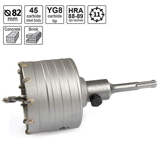 TIMESETL Hohlbohrkrone Hohl-Bohrkrone Set Ø 82mm mit SDS Plus Adapter 110mm, hammerschlagfest schlagbohrfest Lochsägen Set inkl. 110mm Zentrierbohrer und Schraube