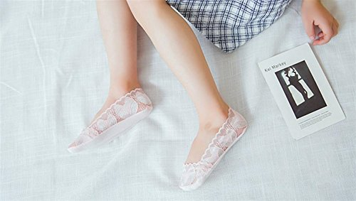 Lizes Girls Lace Little Fox Non-slip Invisible Sneakers (White-Little Fox-L-7-10 years old 3 pairs)