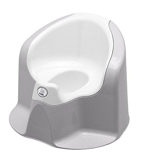 Rotho Babydesign TOP Xtra Komfort-Kindertopf/Töpfchen für erleichteres Sauberkeitstraining/1 x Sitz 40cm x 34cm x 32cm in silbergrau/weiß