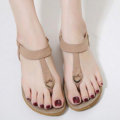Transer® Damen Flach Sandalen Kunstleder+Gummi Outdoor Rosa Blau Beige Einfach T-Gurt Wohnungen Schuhe Gr.35-42 Rosa