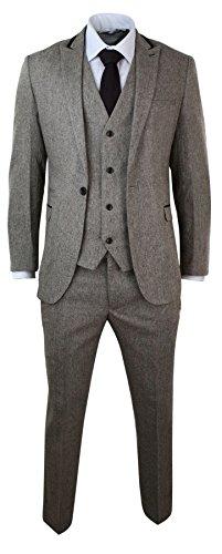 Herrenanzug Braun Fischgräte Tweed 3 Teilig Samt Optik Trimm Eng Vintage (3-teiliges Samt-anzug)