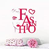 xingbuxin Tatuajes de Pared Niñas Salón de Belleza Cita de Moda Vinilo Etiqueta de la Pared Decoración de Vinilo Mujer Cara Maquillaje Creativo Cartel Moderno 5 57x57cm