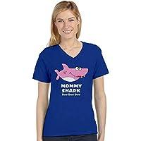 Tstars - Mommy Shark Doo doo doo Gift for Mom V-Neck Fitted Women T-Shirt X-Large Blue