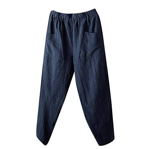 cinnamou Damen Weite Baumwolle und Leinen Mid-Taille Baumwolle Gedruckte Hose Mit Micro-Elastic Cord Entspannt für Verschiedene Körperformen -