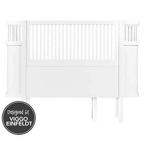 Sebra Babybett & Kinderbett mitwachsend & höhenverstellbar in weiß (ab Geburt bis 6 Jahre)