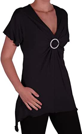 EyeCatch - Solange Womens Asymmetrical Short Sleeve Stretch Diamante Ladies V Neck Top Black Size 14