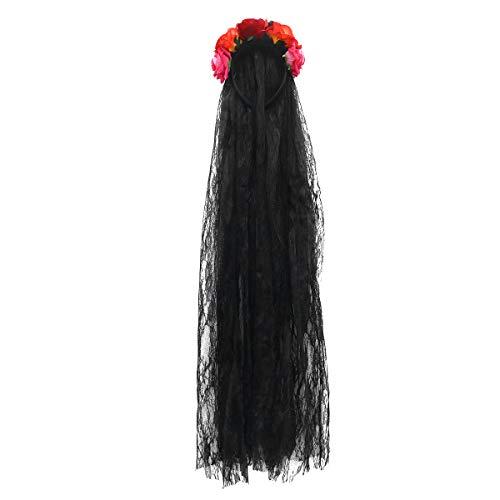 Beaupretty Rose Floral Krone Hochzeit Tiaras Kranz Schleier Featival Stirnband Tag der Toten Kopfbedeckung Tea Party