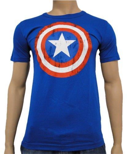 Captain-America-Vintage-Logoshirt-Camiseta-Royal-XXL