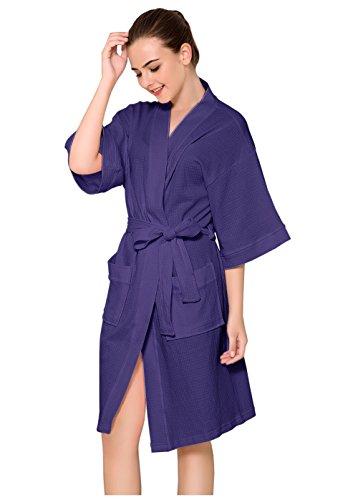 ZAKASA Womens Baumwolle Robe Waffel Kimono Roben Hotel Spa Bademantel Loungewear Nachtwäsche kurz