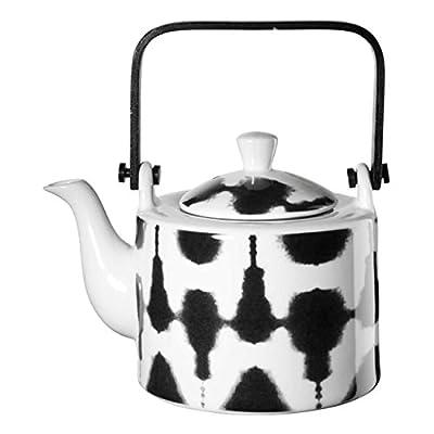 ASA Maori Théière avec passoire à thé, théière, Céramique, Céramique, Noir/Blanc, 750ML, 90900071
