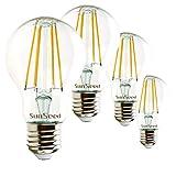 SunSeed® 4x Glühfaden LED classic Lampe E27 7W ersetzt 75W Warmweiß 2700K