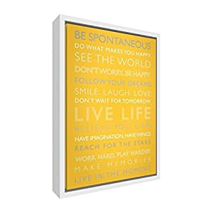 "Feel Good Art ""Live Life Giclee Printed Framed Canvas with Solid White Wooden Frame Surround, Sunshine Yellow, 95 x 64 x 3 cm, X-Large"