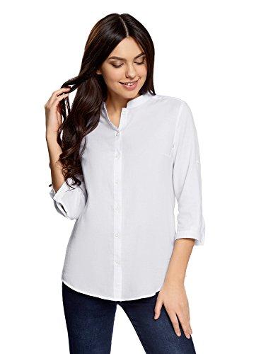 oodji Collection Damen Baumwoll-Bluse Basic, Weiß, DE 44/EU 46/XXL (Weiße Blusen Baumwolle)