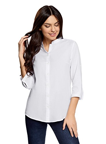 oodji Collection Damen Baumwoll-Bluse Basic, Weiß, DE 44/EU 46/XXL (Klassische Langarm-bluse)