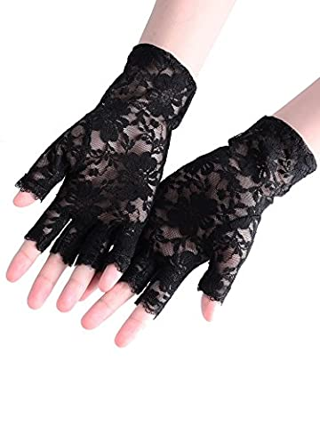 BBTO 3 Pairs 80's Black Lace Fingerless Gloves Women's Floral Lace Gloves Costume Gothic Gloves for Halloween Fancy Dresses Hen
