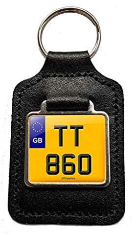 TT 860 Cherished Plate Leather Keyfob for Triumph Thruxton - Keyring Gift by BPGraphics |