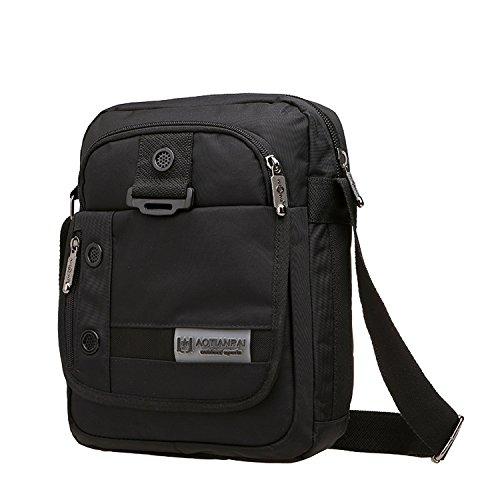 Outreo Borsa Tracolla Uomo Borse a Spalla Viaggio Borsello Sport Messenger Bag Sacchetto Vintage Borsetta per Tablet Tasche Nero