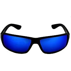 FLEXI-LIGHT Sonnenbrille | unzerstörbar | flexible Sport-Sonnenbrille | polarisiert | Ideal beim Sport und für Helme | Unisex (S | Linsenhöhe 3,5 cm, Blaue Gläser)