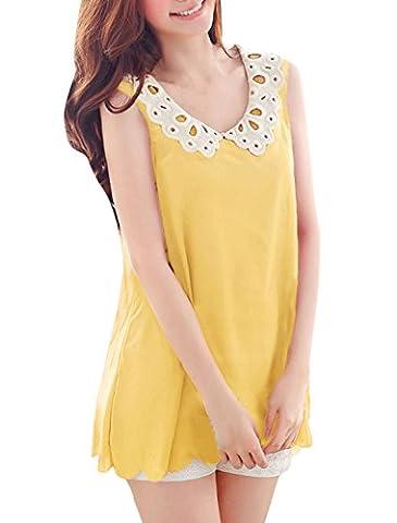 Allegra K Women Crochet Doll Collar Scallop Hem Sheer Chiffon Tank Top S Yellow