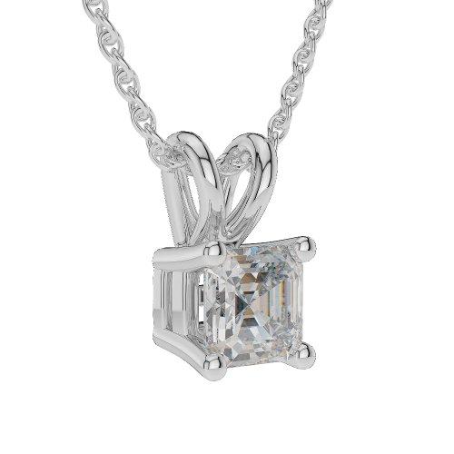 0,20CT G-H/VS Certifié Asscher Forme sertie d'un diamant Collier en platine 950Agdnc-1001