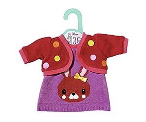 Zapf Creation 870600 Dolly Moda - Vestido de Punto con Chaqueta (36 cm), Color Morado y Rojo