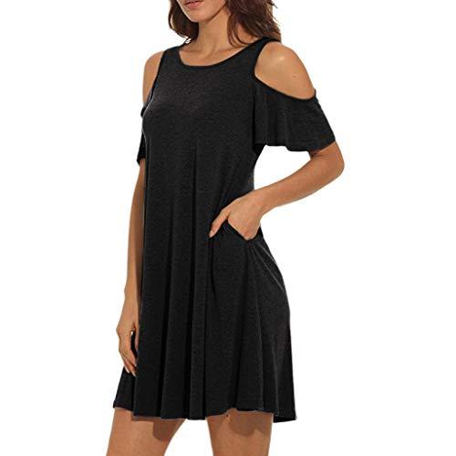 SANFASHION Damen Minikleid,Frauen Sommer kalt Schulter Tunika Top Swing T-Shirt lose Kleid mit Taschen -