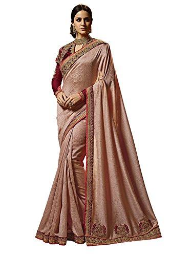 Kjp Villa Women\'s Zapata Silk Light Pink Free Size Embroidery Saree With Blouse Pics sakshi-1152