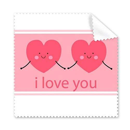 CFHJN Home Rosa niedliche Lächeln-Gesicht-Herzen des Valentinstags Zwei geformt ich Liebe Dich Illustrations-Muster-Glas-Tuch-Reinigungs-Tuch-Telefon-Bildschirm-Reiniger