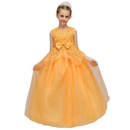 Linnuo ragazza bambina vestito principessa abiti da sera matrimonio nuziale floreale senza maniche per cerimonia carnevale (giallo, 120 cm)