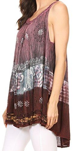 Sakkas Cecily Crinkle Réservoir de Batik Floral avec Sequins et Broderie Violet