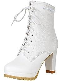 SHOWHOW Damen Sexy Wasserdicht Stiefelette Plateau Kurzschaft Stiefel Mit Stiletto Weiß 34 EU