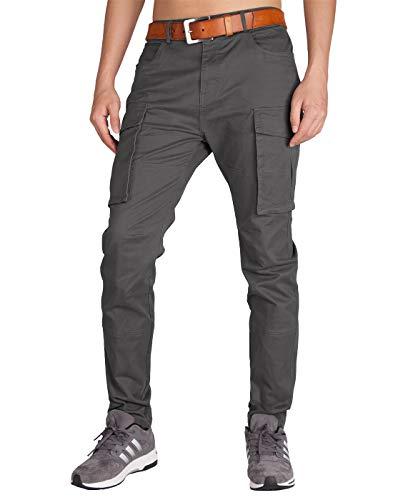 Italy Morn Grigio Cargo Chino Pantaloni da Lavoro Uomo Slim Fit Multitasche  XL Grigio Scuro 0600c1f3df7