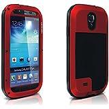 Alienwork Schutzhülle für Samsung Galaxy S4 Stoßfest Hülle Case Bumper spritzwasserfest Staubdicht Schneedicht Metall rot SI9500G-04-R1