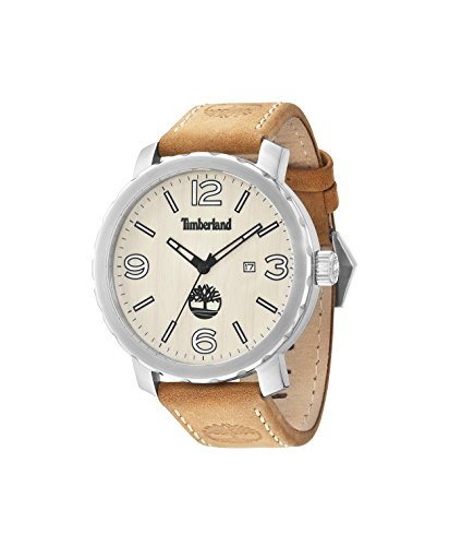 Timberland Men's Quartz Watch with Beige Dial Analogue Display and Brown Leather Strap 14399XS/07