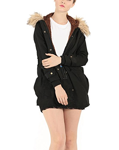 Mantel Damen mit kapuze Herbst Winter Elegant Parka Casual Modern Outdoor Fellkapuze Lang Warm