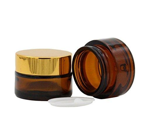 50ml : 2PCS 20ML/30ML/50ML Empty Reusable Glass Face Cream Lip Balm Storage Container Pot Bottle Jar Travel Packing Bottle Sample Bottles Cosmetics Container Holder with Golden Cap (50ml)